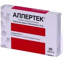 Buy Allertec Tablets 10 mg, 20 tablets