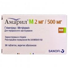 Buy Amaril Tablets 2 mg + 500 mg, 30 tablets