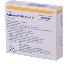 Buy Actrapid Bottle 100 IU/ml, 5 cartridges of 3 ml (thermolabile)
