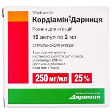 Buy Cordiamine ampoules 250 mg/ml, 10 ampoules of 2 ml